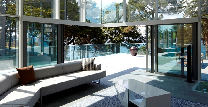 Sliding patio doors floating ceiling corners for Corner sliding glass doors