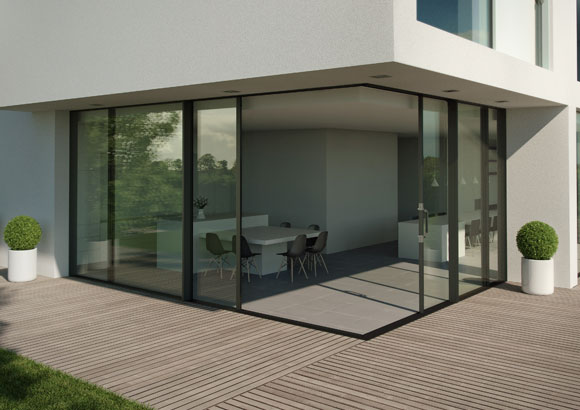 Aluminium doors that meet in the corner with no fixed corner post