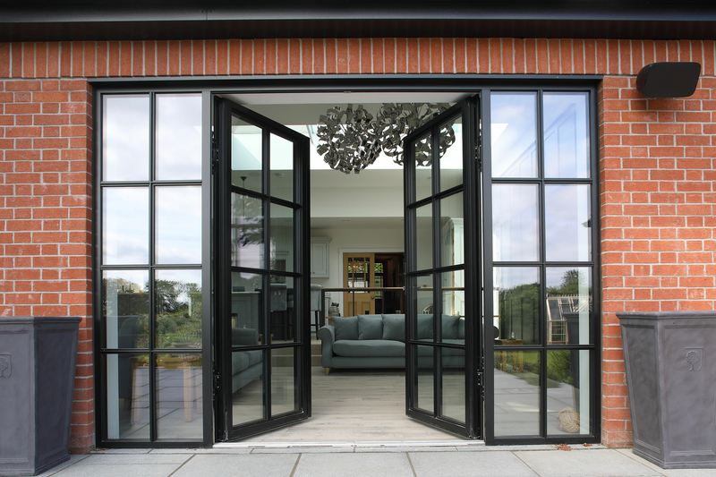 slimline doors from reynaers at home, steel look replacement, crittal